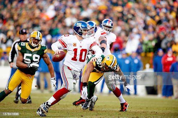 NFC Playoffs New York Giants QB Eli Manning in action vs Green Bay Packers at Lambeau Field Green Bay WI CREDIT John Biever