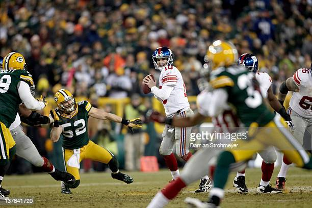 NFC Playoffs New York Giants QB Eli Manning in action vs Green Bay Packers at Lambeau Field Green Bay WI CREDIT Damian Strohmeyer