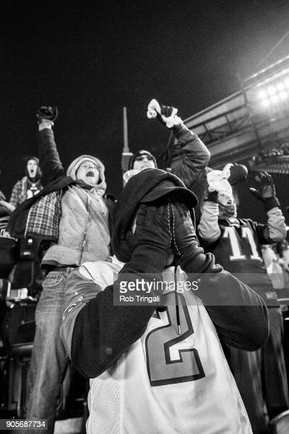 NFC Playoffs Philadelphia Eagles and Atlanta Falcons fans in stands during game vs Atlanta Falcons at Lincoln Financial Field Falcons fan looking...