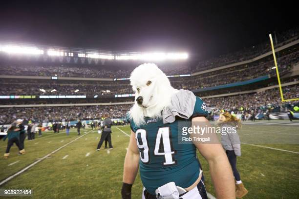 NFC Playoffs Philadelphia Eagles Beau Allen victorious wearing dog mask on field after winning game vs Minnesota Vikings at Lincoln Financial Field...