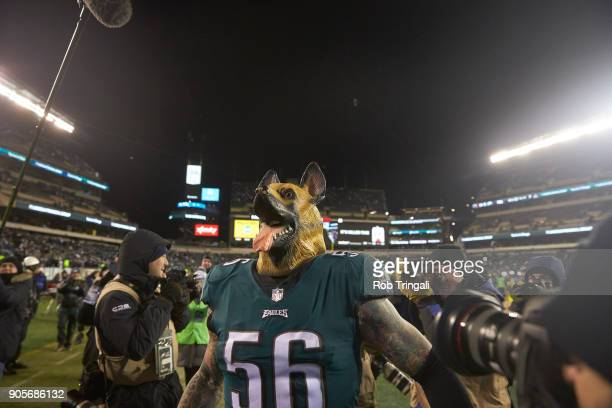 NFC Playoffs Philadelphia Eagles Chris Long victorious wearing dog head after winning game vs Atlanta Falcons at Lincoln Financial Field Goofy...