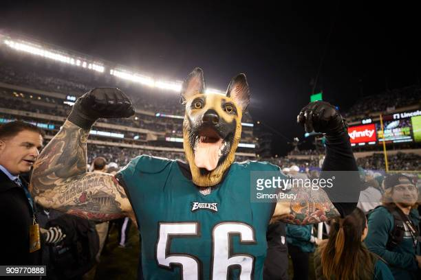NFC Playoffs Philadelphia Eagles Chris Long victorious wearing dog mask after winning game vs Minnesota Vikings at Lincoln Financial Field...