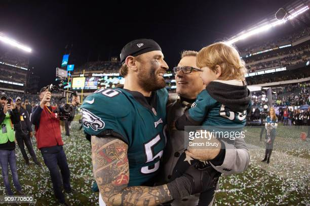 NFC Playoffs Philadelphia Eagles Chris Long victorious hugging his father Howie and son Waylon after winning game vs Minnesota Vikings at Lincoln...