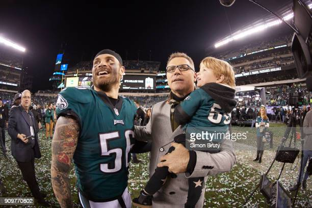 NFC Playoffs Philadelphia Eagles Chris Long victorious with his father Howie and son Waylon after winning game vs Minnesota Vikings at Lincoln...
