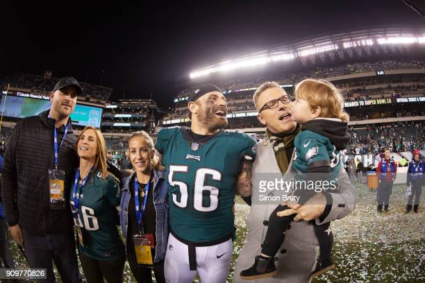 NFC Playoffs Philadelphia Eagles Chris Long victorious with his father Howie son Waylon and family after winning game vs Minnesota Vikings at Lincoln...