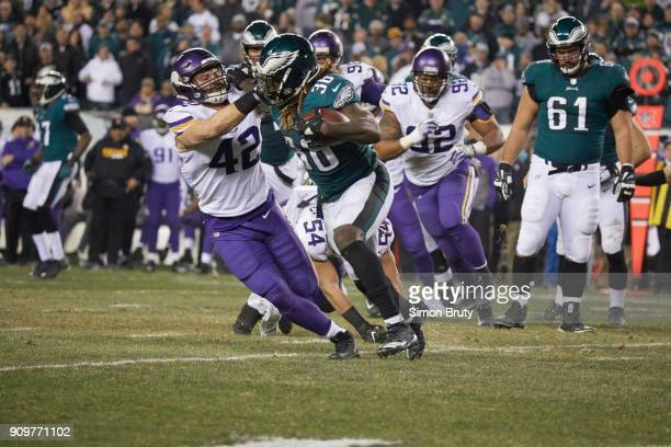 NFC Playoffs Philadelphia Eagles Corey Clement in action rushing vs Minnesota Vikings Ben Gedeon at Lincoln Financial Field Philadelphia PA CREDIT...