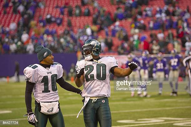 NFC Playoffs Philadelphia Eagles DeSean Jackson and Brian Dawkins victorious after winning game vs New York Giants East Rutherford NJ 1/11/2009...