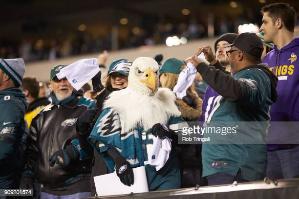 NFC Playoffs Philadelphia Eagles fan in stands wearing bald eagle mask during game vs Minnesota Vikings at Lincoln Financial Field Philadelphia PA...