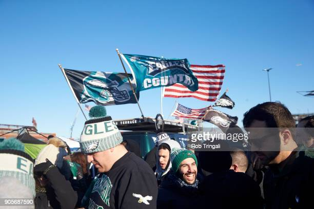 NFC Playoffs Philadelphia Eagles fans tailgating before game vs Atlanta Falcons at Lincoln Financial Field Philadelphia PA CREDIT Rob Tringali
