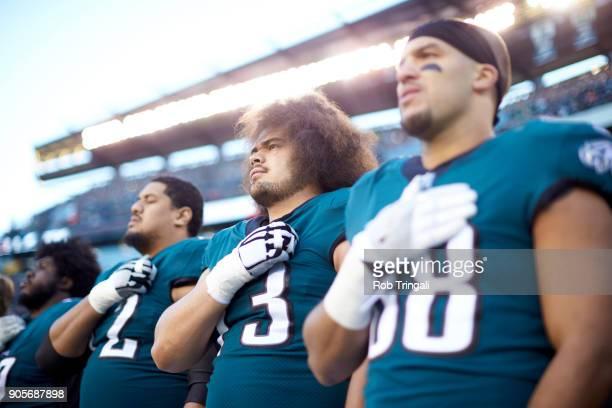 NFC Playoffs Philadelphia Eagles Issac Seumalo during anthem before game vs Atlanta Falcons at Lincoln Financial Field Philadelphia PA CREDIT Rob...