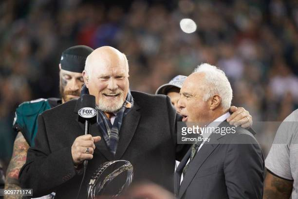 NFC Playoffs Philadelphia Eagles owner Jeffrey Lurie during interview with Fox Sports analyst Terry Bradshaw during NFC Championship trophy...