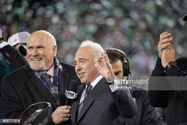 NFC Playoffs Philadelphia Eagles owner Jeffrey Lurie during interview with Fox Sports analyst Terry Bradshaw after winning game vs Minnesota Vikings...
