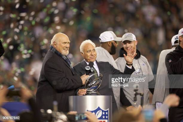 NFC Playoffs Philadelphia Eagles owner Jeffrey Lurie with Fox Sports analyst Terry Bradshaw during interview during NFC Championship trophy...