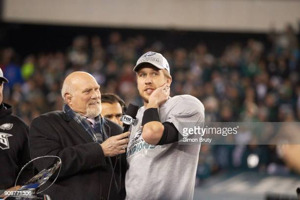 NFC Playoffs Philadelphia Eagles QB Nick Foles during interview with Fox Sports analyst Terry Bradshaw after winning game vs Minnesota Vikings at...