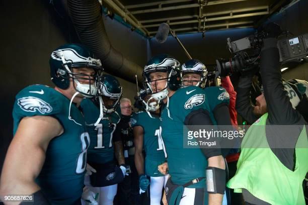 NFC Playoffs Philadelphia Eagles QB Nick Foles in runway with teammates before game vs Atlanta Falcons at Lincoln Financial Field Philadelphia PA...