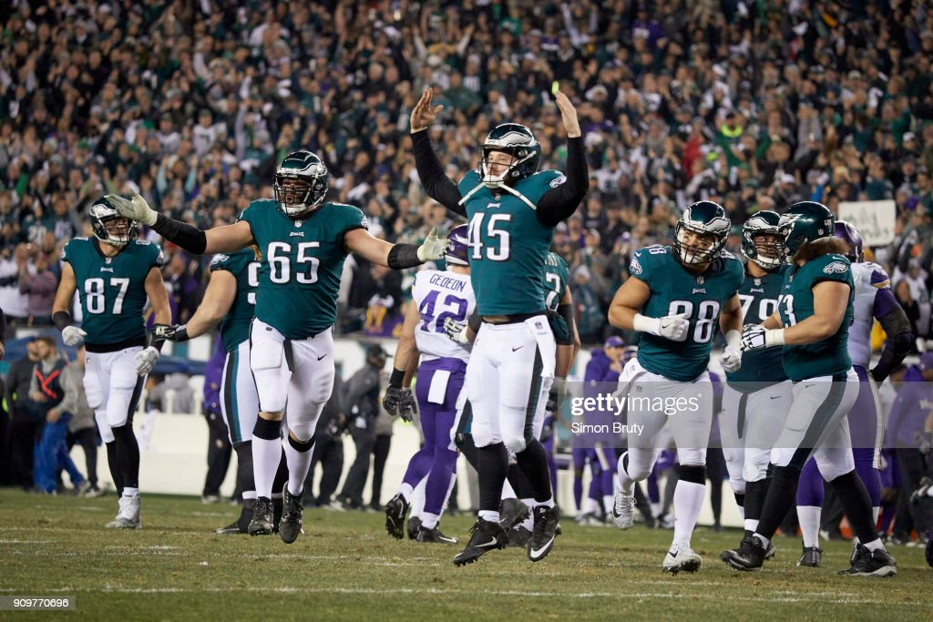 7bd82498956 Philadelphia Eagles Philadelphia Eagles Rick Lovato (45) and Lane Johnson  (65) victorious during game ...