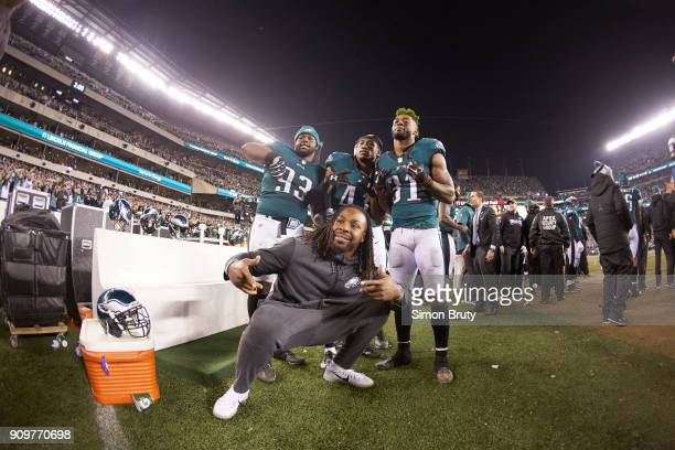NFC Playoffs Philadelphia Eagles Tim Jernigan Ronald Darby and Jalen Mills victorious after winning game vs Minnesota Vikings at Lincoln Financial...