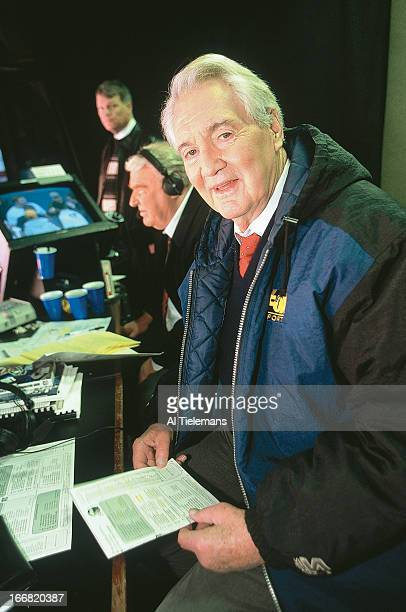 NFC Playoffs Portrait of NFL on Fox Sports announcer Pat Summerall before New York Giants vs Philadelphia Eagles game at Giants Stadium East...
