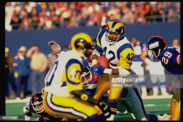 NFC playoffs LA Rams Greg Bell in action vs NY Giants