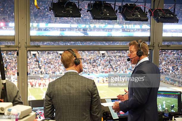 NFC Playoffs Rear view of Fox Sports announcers Joe Buck and Troy Aikman during telecast of Arizona Cardinals vs Carolina Panthers NFC Championship...