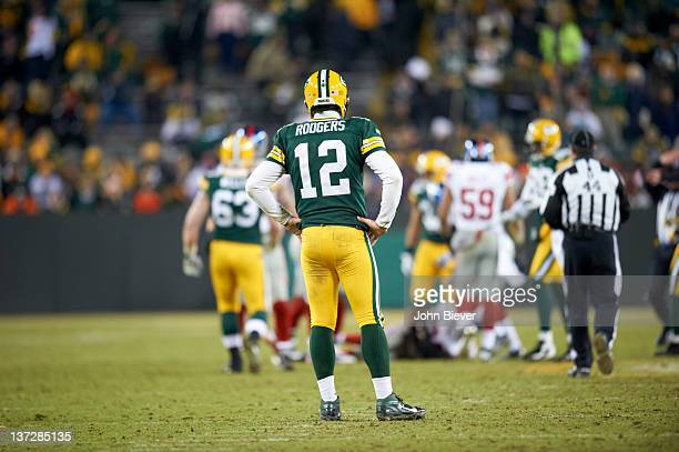 NFC Playoffs Rear view of Green Bay Packers QB Aaron Rodgers during game vs New York Giants at Lambeau Field Green Bay WI CREDIT John Biever