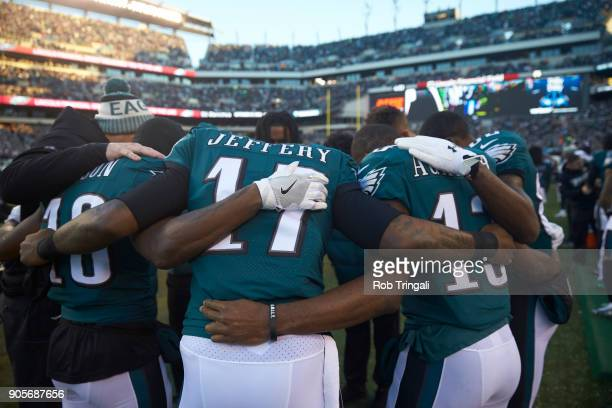 NFC Playoffs Rear view of Philadelphia Eagles Alshon Jeffrey praying with teammates after game vs Atlanta Falcons at Lincoln Financial Field...