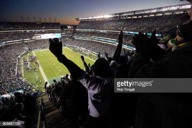 NFC Playoffs Rear view of Philadelphia Eagles fans in stands during game vs Atlanta Falcons at Lincoln Financial Field Philadelphia PA CREDIT Rob...