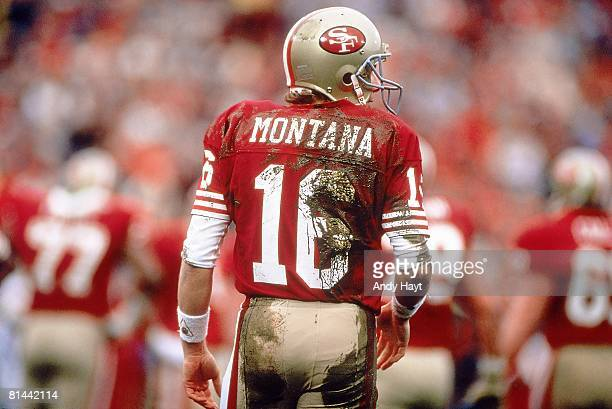 Football NFC Playoffs Rear view of San Francisco 49ers QB Joe Montana on field during game vs Minnesota Vikings San Francisco CA 1/9/1988
