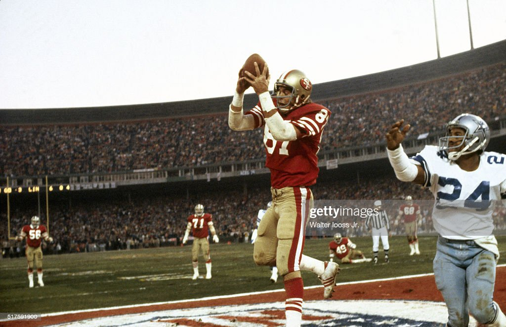 NFC Playoffs San Francisco 49ers Dwight Clark in action making catch and scoring game winning touchdown vs Dallas Cowboys Everson Walls during 4th...