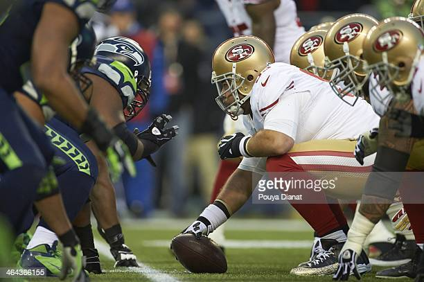NFC Playoffs San Francisco 49ers Jonathan Goodwin at line of scrimmage during game vs Seattle Seahawks defensive line at CenturyLink Field Seattle WA...