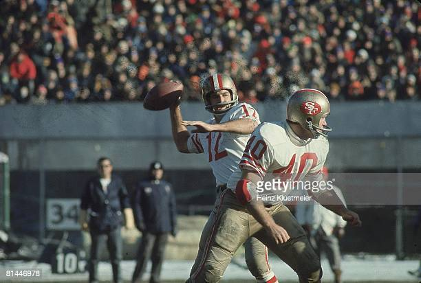 Football NFC Playoffs San Francisco 49ers QB John Brodie in action making pass vs Minnesota Vikings Bloomington MN