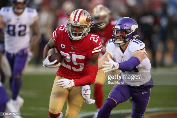 Playoffs: San Francisco 49ers Richard Sherman in action, returning interceprion vs Minnesota Vikings Adam Thielen at Levi's Stadium. Santa Clara, CA...