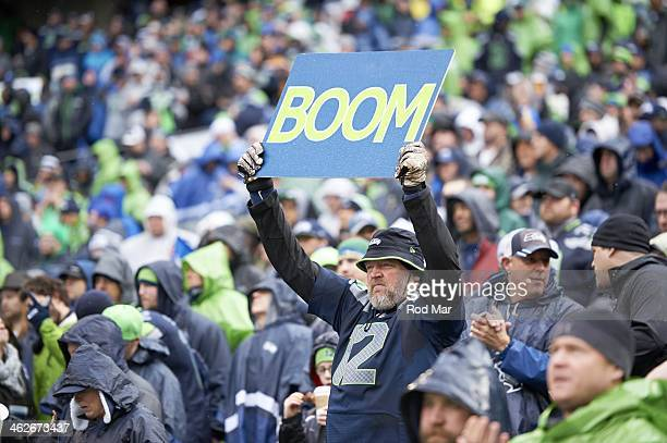 NFC Playoffs Seattle Seahawks fan in stands holding up sign that reads BOOM during game vs New Orleans Saints at CenturyLink Field Seattle WA CREDIT...