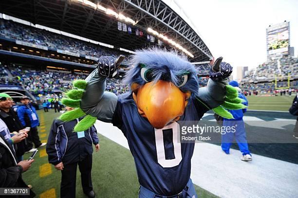 Football NFC Playoffs Seattle Seahawks mascot Blitz during game vs Washington Redskins Seattle WA 1/5/2008