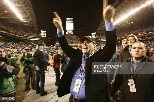 Football NFC Playoffs Seattle Seahawks owner Paul Allen victorious after winning game vs Carolina Panthers Seattle WA 1/22/2006