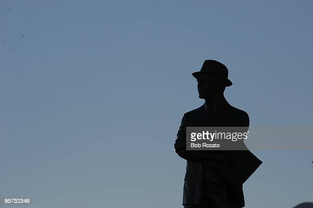 NFC Playoffs Silhouette of statue of former Dallas Cowboys coach Tom Landry at Cowboys Stadium during game vs Philadelphia Eagles Arlington TX...