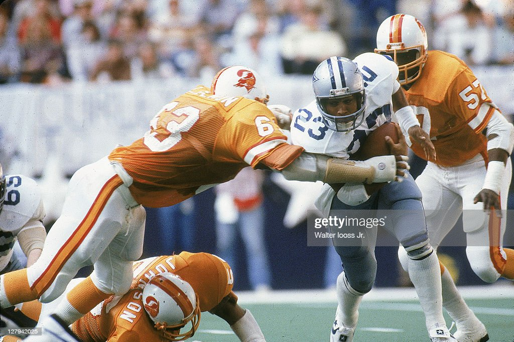 NFC Playoffs Tampa Bay Buccaneers Lee Roy Selmon in action making tackle vs Dallas Cowboys James Jones at Texas Stadium Irving TX CREDIT Walter Iooss...