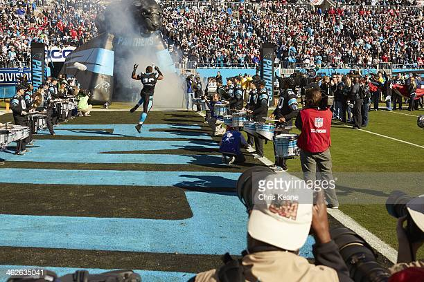 NFC Playoffs View from rear of Carolina Panthers Greg Hardy taking field before game vs San Francisco 49ers at Bank of America Stadium View of KRAKEN...