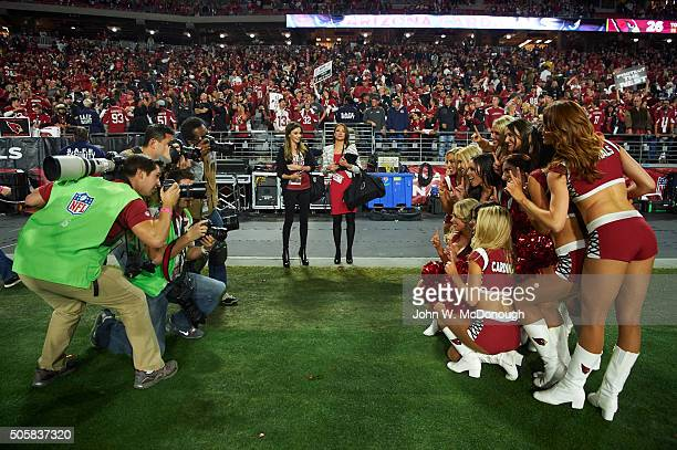 NFC Playoffs View of Arizona Cardinals cheerleaders posing for picturers before game vs Green Bay Packers at University of Phoenix Stadium Glendale...