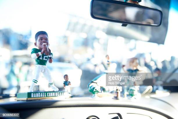 NFC Playoffs View of bobblehead of former Philadelphia Eagles QB Randall Cunningham on dashboard of car before game vs Atlanta Falcons at Lincoln...