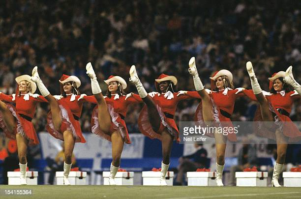 NFC Playoffs View of Dallas Cowboys cheerleaders performing during halftime of game vs Los Angeles Rams at Texas Stadium Irving TX CREDIT Neil Leifer