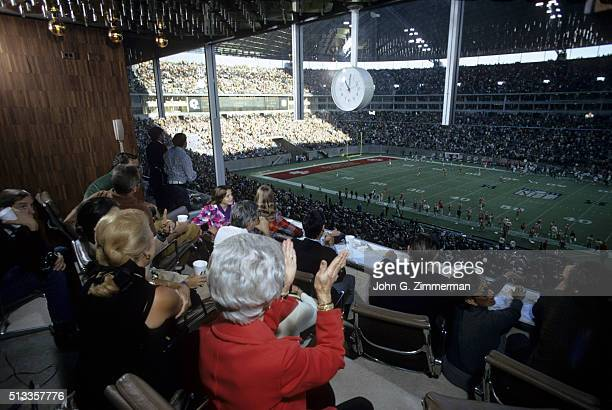 NFC Playoffs View of Dallas Cowboys fans watching game vs San Francisco 49ers from Circle Suites box seats owned by Braniff International Airways at...