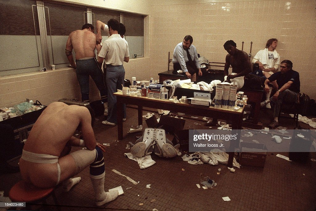 NFC Playoffs View of Dallas Cowboys players upset in locker room after losing game vs San Francisco 49ers at Candlestick Park Behind the Scenes San...