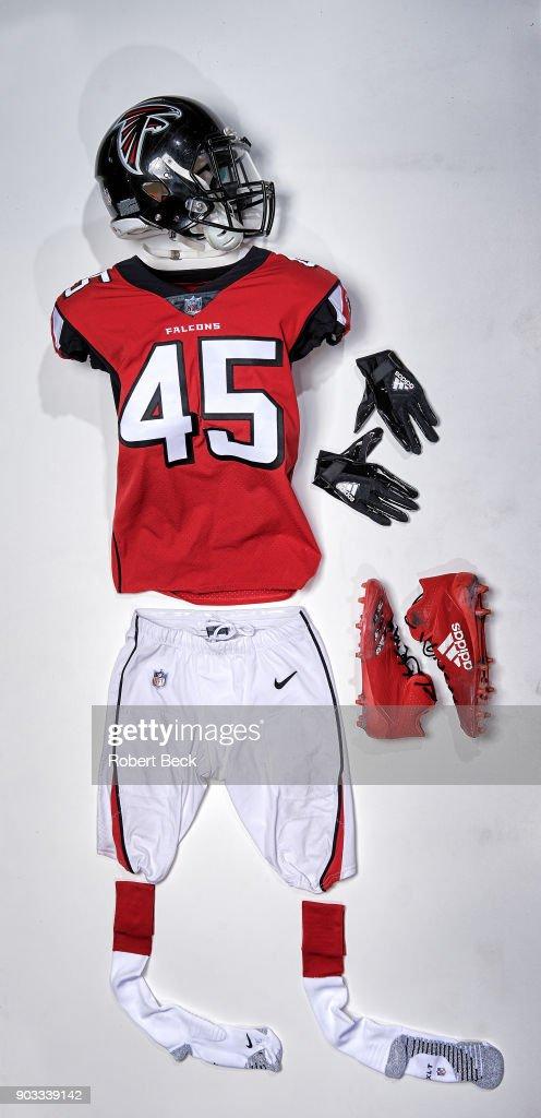 cheaper 81f6b e81d0 View of jersey of Atlanta Falcons Deion Jones laid out ...