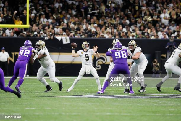 NFC Wild Card Playoffs New Orleans Saints QB Drew Brees in action passing vs Minnesota Vikings at MercedesBenz Superdome New Orleans LA CREDIT David...