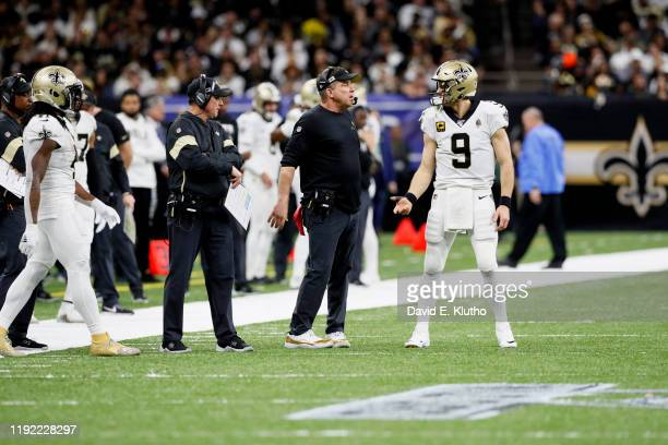 NFC Wild Card Playoffs New Orleans Saints QB Drew Brees with coach Sean Payton on field during game vs Minnesota Vikings at MercedesBenz Superdome...