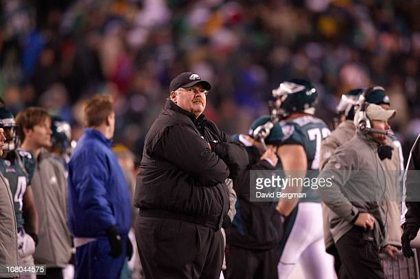 NFC Wild Card Playoffs Philadelphia Eagles coach Andy Reid on sidelines after game vs Green Bay Packers at Lincoln Financial FieldPhiladelphia PA...