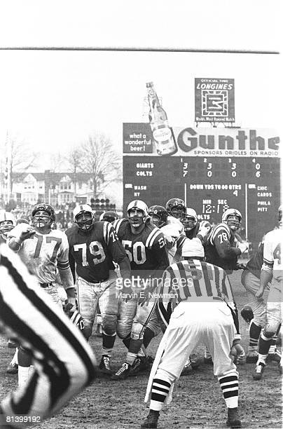 Football NFL championship Baltimore Colts in action vs New York Giants View of scoreboard stadium Baltimore MD