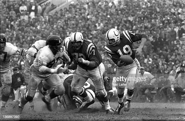 Football NFL Championship Baltimore Colts QB Johnny Unitas in action vs New York Giants at Memorial Stadium Baltimore MD CREDIT Neil Leifer