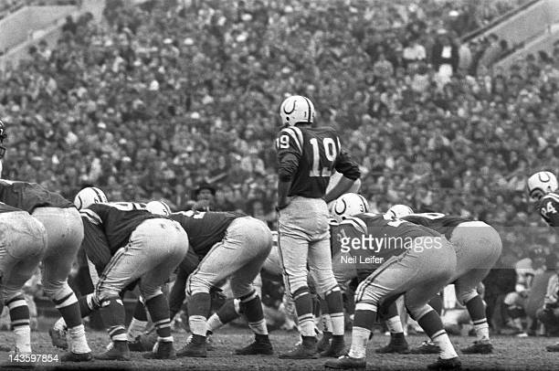 NFL Championship Baltimore Colts QB Johnny Unitas in action before snap vs New York Giants at Memorial Stadium Baltimore MD CREDIT Neil Leifer